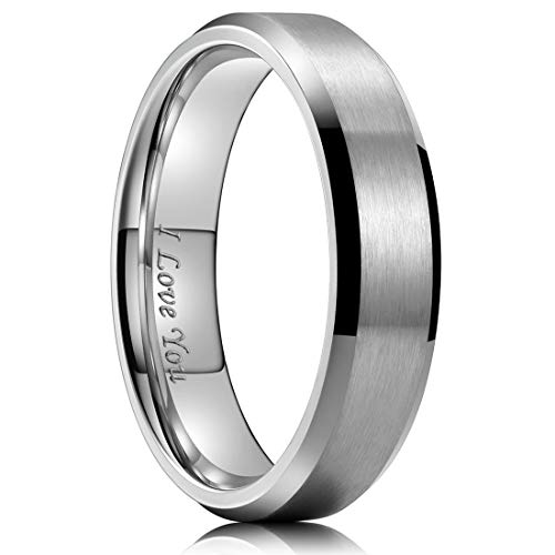 King Will 6mm Stainless Steel Ring Matte Finish & Polished Beveled Edge with I Love You 10
