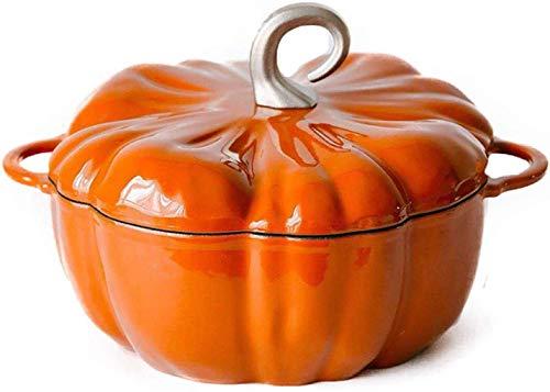 WRMIGN, pentola da cucina in gres porcellanato con coperchio zucca in ghisa smaltata, pentola da 24 cm, 3,76 L (colore arancione)