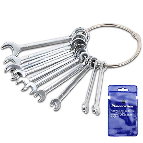 SPEEDWOX Juego de llaves métricas estándar 4mm-11mm juego de llaves de ignición juego de llaves de combinación abiertas y caja de extremo con mini llaves con bolsas de almacenamiento portátiles