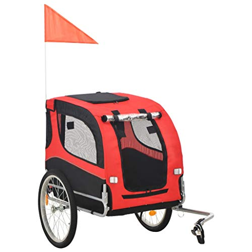 Tidyard Dog Bike Trailer, Foldable Pet Trailer, with 2 Reflectors and Rain Cover, Quick-Release Wheels, Dual Entry, Red and Black