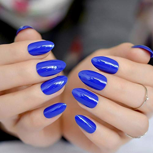 JSIYU Faux Ongles courts ovales solides faux ongles Stiletto pointu Pure Color Gel UV Amande Porter des conseils complets, F95 D
