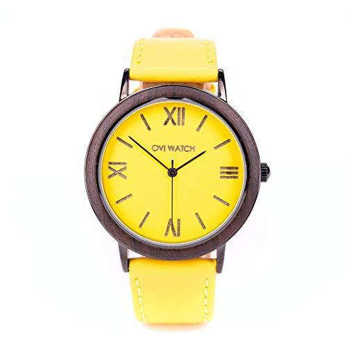 Gelbe Damenuhr mit Lederband 40m, Holz- und Aluminiumgehäuse mit gelbem Zifferblatt