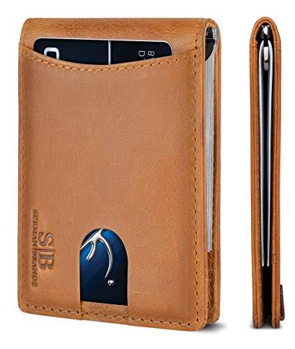 SERMAN BRANDS RFID Blocking Slim Bifold Genuine Leather Minimalist Front Pocket Wallets for Men with Money Clip (California Desert...