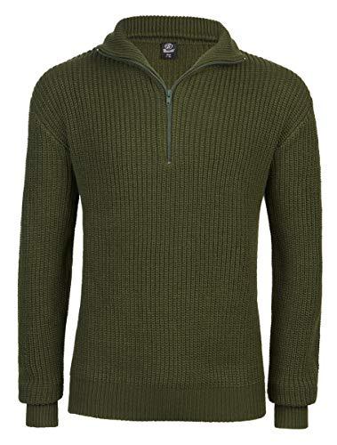 Brandit Herren Marine Troyer Pullover, Oliv, XL