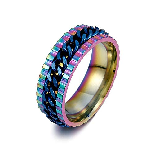 GMZDD ketting ring overdreven geometrie roterende metalen ring domineering tandwiel ketting ring een unieke ring kan brengen u veel geluk