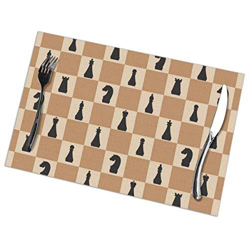 Ha99y Tovagliette Ch On Chboard per Tavolo da Pranzo Set di 6 Pezzi in Poliestere Lavabile 12x18 in tovagliette tessute in Vinile Resistenti al Calore per Decorazioni per tavoli da Pranzo in stuoie