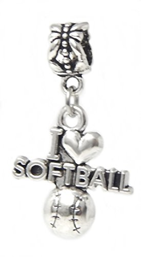 Dangle I Love Softball Charm Bead for Charms Bracelets