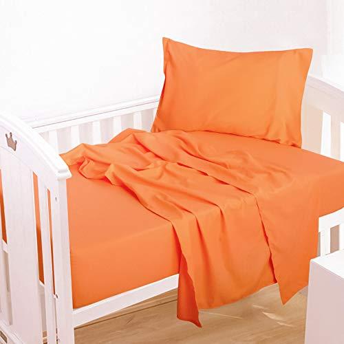NTBAY 3-Piece Microfiber Toddler Sheet Set, Solid Crib Fitted Sheet Flat Sheet and Envelope Pillowcase, Baby Bedding Sheet & Pillowcase Sets, Orange