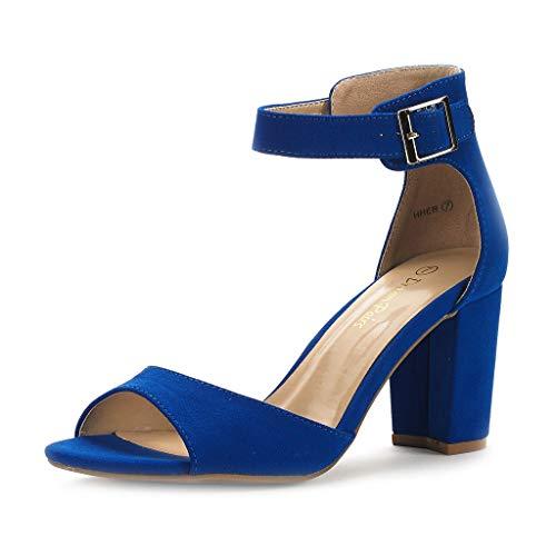 DREAM PAIRS Women's Hher Royal Blue Low Heel Pump Sandals - 8 M US