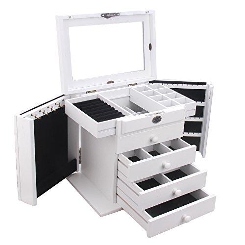 Schmuckkasten weiß Schmuckkoffer groß aus Holz Schmuckschatulle mit 3 Schubladen Spiegel