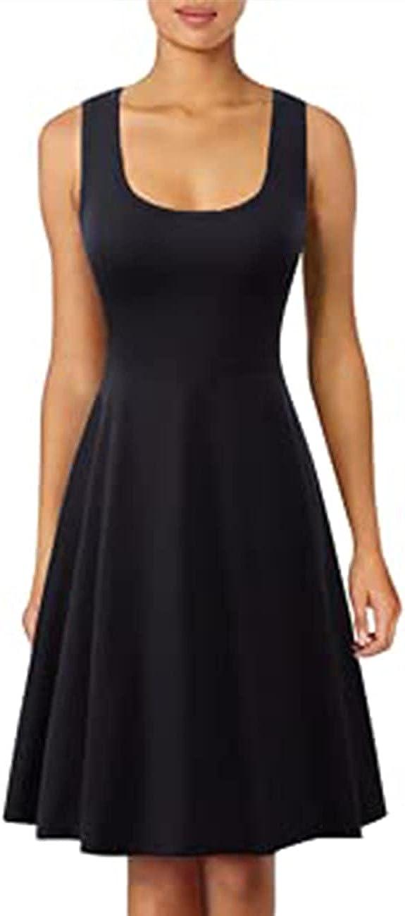 Herou Women Halloween Costume Dress Summer Slim Sleeveless Scoop Neck A-Line Flare Sun Dresses
