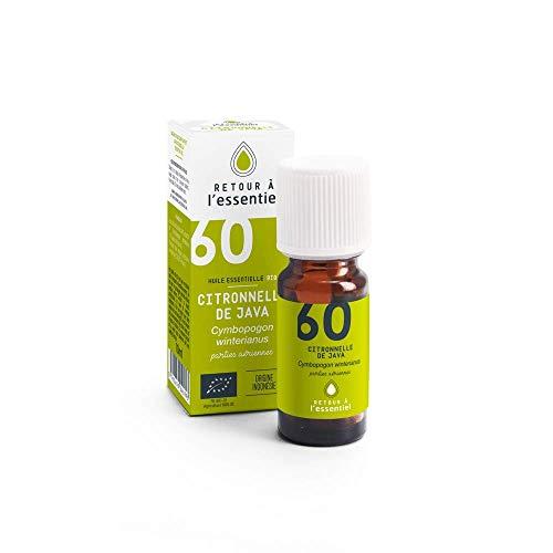 Retour à l'essentiel Huile essentielle de citronnelle de java Bio - 100% pure et naturelle HEBBD - 10 ml