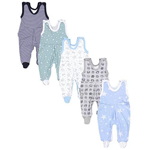TupTam Baby Unisex Strampler mit Aufdruck Spruch 5er Pack, Farbe: Junge 5, Größe: 56