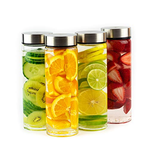 Juice Bottles - 4 Pack Wide Mouth Glass Bottles with Lids - for Juicing, Smoothies, Infused Water,...