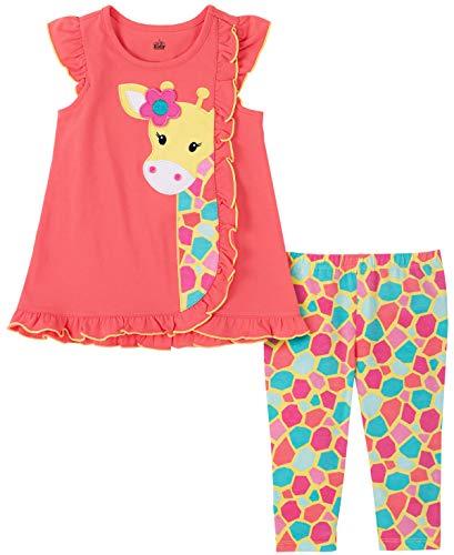Kids Headquarters Conjunto de Leggings para bebé y niña, Rosado/Estampado, 12 Meses