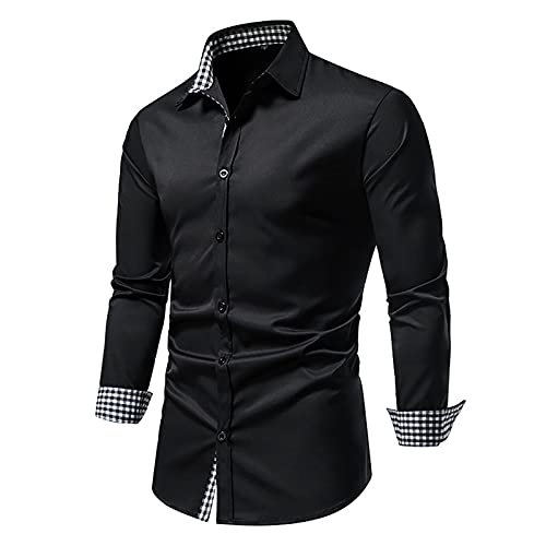 Tops for Men Rose Printed Long-sleeved Lapel Fashion Solid Color T-Shirts Autumn And Winter Casual Slim Fit Blouse Tee (04 Black, L)
