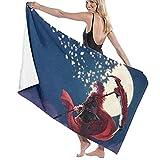 Anime Microfiber Beach Bath Towel,RWBY Ruby Rose Crescent Scythe Vintage Oversized Skin-Friendly Plush Towel Blanket Poncho for Men Women Travel Swimming Hiking Camping 52'X32'