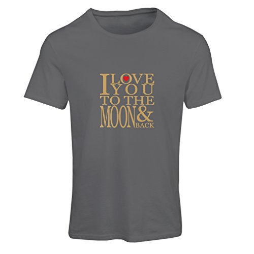 N4152F Camiseta Mujer I Love You to The Moon and Back Love, Great St. Valentine Gift (Large Gris Oro)