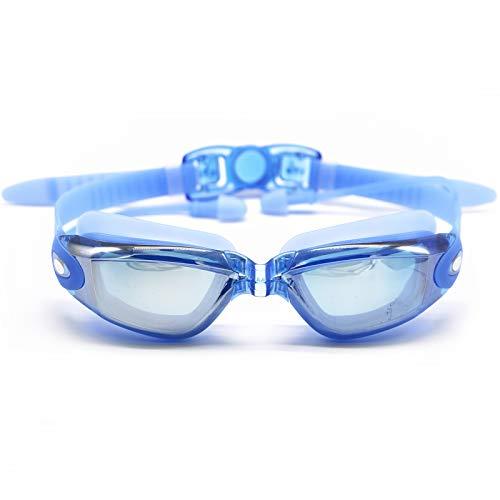 Hersvin Gafas de Natación de Miopía (0 a -8.0) Anti-UV Antivaho con Puente Nasal Extraíble, Tapones para Los Oídos Siameses para Adultos Hombres Mujeres Niños