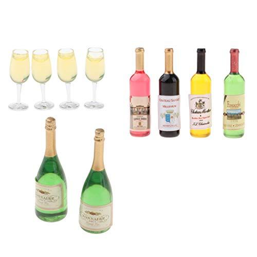 Amagogo 1/12 Botellas de Vino de Casa de Muñecas Botellas de Bebida de Champán Gafas Adornos Artículos