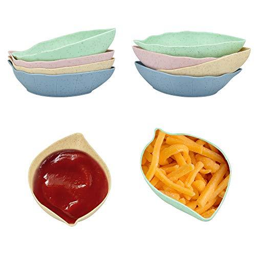TANCUDER 12 Pezzi Set di Mini Ciotole Paglia di Grano Ciotole da Dessert Ciotoline da Snack Piatto di Condimento Forma della Foglia Piattini per Aceto Piccole Ciotole per Marmellata, Sushi, Caramella