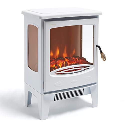 VonHaus Panoramic Electric Stove Heater ? 1800W Fireplace with LED Log Fire Flame Effect ? Adjustable Thermostat, Freestanding & Portable with Overheat Protection - Ideal for Living Room - White