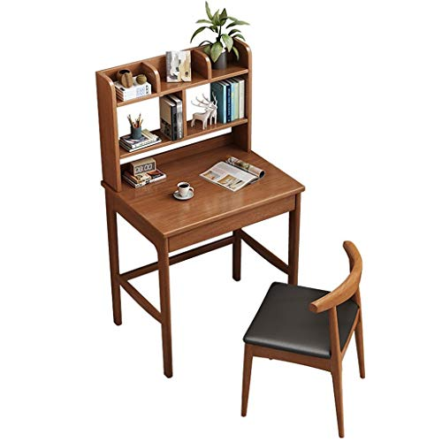 LXJ Computer Desk, Study Desk, Wooden Writing Desk, Adult and Child Desk with Bookshelf, Simple and Modern Rubber Wooden Desk 80 cm