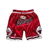 ULIIM Herren Bulls Shorts Mesh Basketball Retro Chicago Bulls Swingman Sports Shorts M-XXL