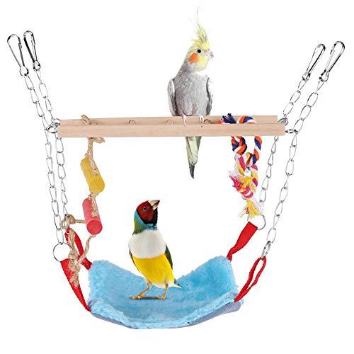HEEPDD Papegaai Swing Ladder, Huisdieren Vogels Klimmen Speelgoed Houten Ladder Warm Hangmat Katoen Touw Kooi Opknoping Decor voor Kleine Dieren Ferret Papegaaien Rat Hamster, Blauw