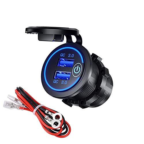 YGL Carga Rapida 3.0 Cargador de Coche Dual USB con Interruptor,Impermeable 36W 12V USB Outlet Cargador rápido paraCoche Barco Motocicleta