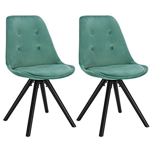 WOLTU® BH196ts-2 2 x Esszimmerstühle 2er Set Esszimmerstuhl, Sitzfläche aus Samt, Design Stuhl, Küchenstuhl, Holzgestell, Türkis