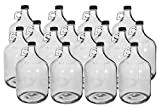 One Gallon Glass Jug with 38mm BLACK Metal Screw Cap (Set of 16)