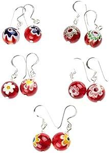 Chic-Net Pendientes de cristal de Murano 18mm perla del corazón colorido de flores 925 cristal de plata negro