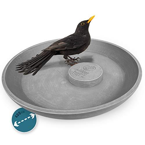 wildtier herz I Große Premium Vogeltränke Frostsicher Ø 40cm, Vogeltränke Stehend, Vogelfutterspender, Vogelbad für Garten und Balkon, Vogelbecken, Wasserschale