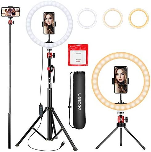 10 2 inch Selfie Ring Light with Tripod Stand Phone Tripod Holder UEGOGO 3 Modes LED Ringlight product image