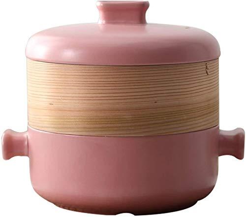 XY-M Pote de Sopa de Vapor de Alimentos Cerámica Cerámica Pote de Vapor de cocinar Utensilios de Cocina Cocinar el hogar Cazuela Wok con Tapa para la Cocina Cocina Pink 1.5L
