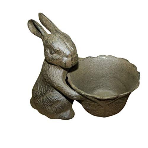 Garden Statue Vintage Rustic Cast Iron Easter Bunny Bowl Bird Feeder, Rabbit Birdbath Planter Decor