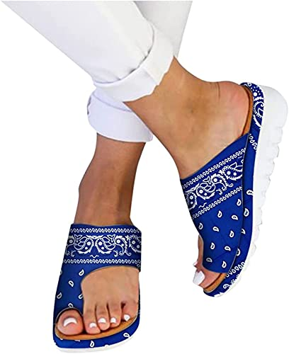 QAZW Flache Damen-Sandalen, Flip-Flops, Strand, orthopädische Schuhe, Sommer-Plattform-Pantoletten, Pantoletten, Slipper-Sohle, Komfort, ideal für Hallux Valgus, große Zehen, breite Füße, blau-37