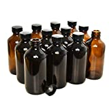 Rocinha 8 oz Amber Boston Bottles 12pcs Glass...