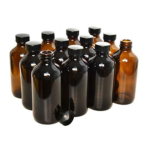 Rocinha 8 oz Amber Boston Bottles 12pcs Glass Boston Bottle with Caps for Homemade Vanilla Extract, Essential Oils, Herbal Medicine