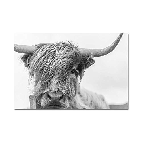 SHBKGYDL Bilder Auf Leinwand,Tierisches Schwarz Weisse Kuh Home Wand Kunst Leinwand Poster Drucke Malerei Nordic Dekoration Wand Bilder Für Wohnzimmer Schlafzimmer Einrichtung