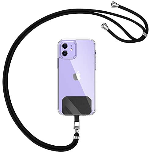 YIRSUR Universal Handykette für alle Smartphones - Einstellbar Schlüsselband Halsband Kordel zum Umhängen, 2 Stück Ersatz Pads, Handschlaufe Handyband für meisten Handy Hülle (Schwarz)