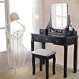 Tocador con taburete y espejo, tocador con espejo y taburete acolchado, 5 cajones, moderno tocador para mujeres y niñas, color negro, 80 x 40 x 135 cm