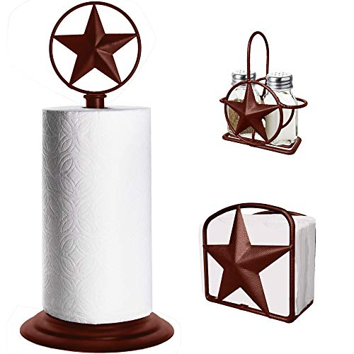 Brown Rustic Texas Star Paper Towel Holder, Napkin Holder, Salt and Pepper Shakers Holder, Country Farmhouse Iron Kitchen Counter Accessory Set Holders (Paper Towel, Napkin, S New Hampshire