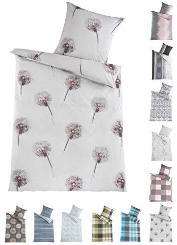 BaSaTex Renforcé Bettwäsche Set | 100% Baumwolle | 135x200 cm + 80x80 cm | Reißverschluss | Pusteblume