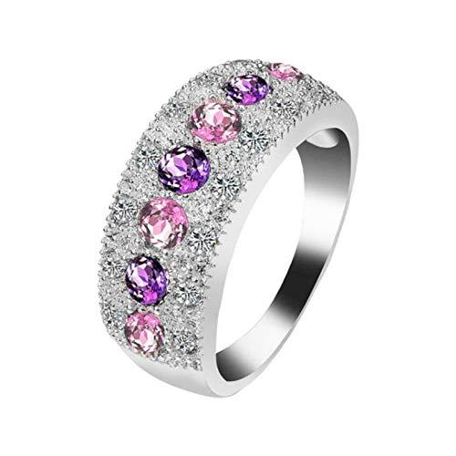 Aifono Elegante Anillo de joyería para Dama, semicírculo con Incrustaciones de Corte Redondo, Cristales Rosados y púrpuras, Anillo de circonita de Diamantes de imitación Simple tamaño 6-10 (USA-8)