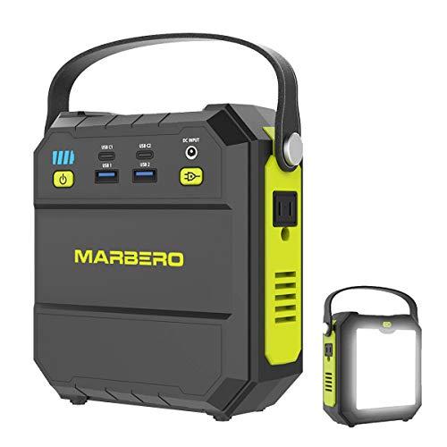 MARBERO ポータブル電源 M87 22500mAh/83.25Wh 小型 軽量?家庭用蓄電池 PSE認証済み AC(80W 瞬間最大120W)/USB/Type-Cなど出力 急速充電QC3.0 三つの充電方法 超高輝度LEDライト付き 車中泊 キャン