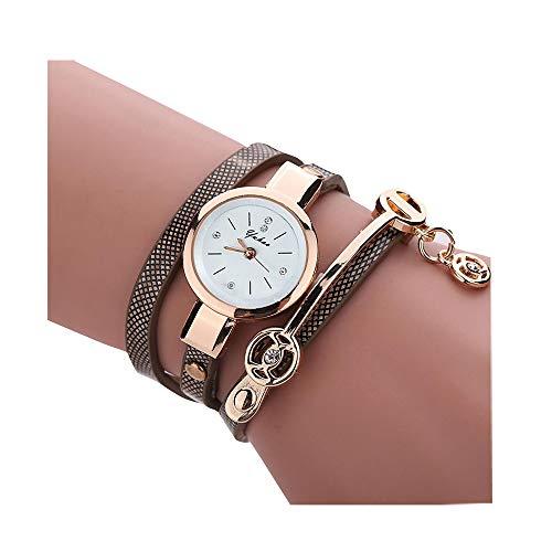 Uhren Damen Mit Armband Set Gold Lederband Weißes Zifferblatt Einfach Lässig Weiß mit Rosegold Armreif (Marine)