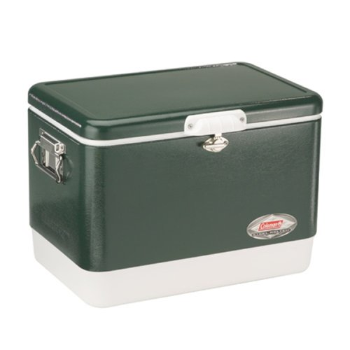 Coleman Camping Tailgating 54 QT Stainless Steel Belted Ice Chest Cooler | Green