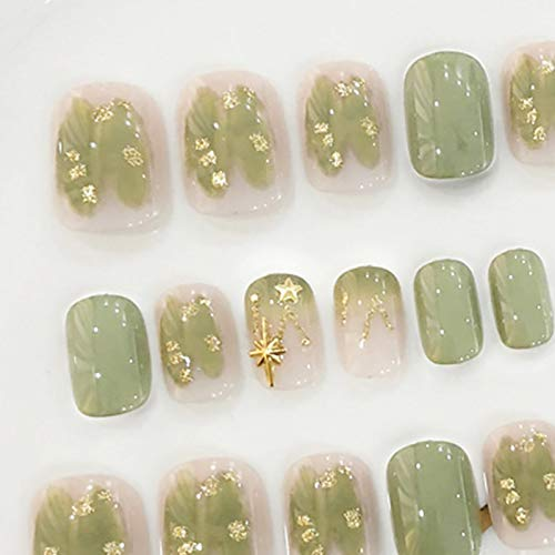 DKHF Valse nagels 24 stuks stijl nep nagel groene armor korte waterdichte valse nagels zomer nagel